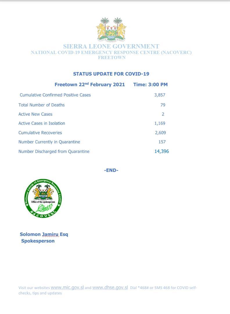 Sierra Leone COVID-19 Update